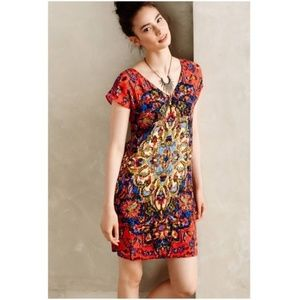 Anthro Maeve Watercolor Medallion Shift Dress M